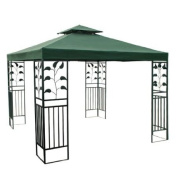 3.7m X 3.7m Garden Patio Canopy Two Tiered Gazebo Replacement Canopy Top Green