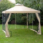 3m X 3m Garden Patio Canopy Gazebo Replacement Canopy with Net Top Ivory White