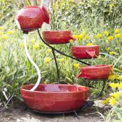 Ceramic Solar Water Fountain Garden Zen Free Standing Weather Proof Red
