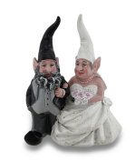 Wedding Couple Bride and Groom Weathered Finish Gnome Statue 20cm .