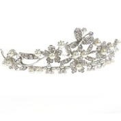 Antique Silver, Pearls and Crystal Butterflies and Flowers Bridal Tiara