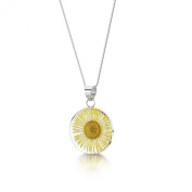 Shrieking Violet Sterling Silver Real Flower Daisy Medium Pendant And 46cm Chain