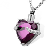 Housweety Cremation Jewellery Stainless Steel Crystal Heart Urn Pendant Necklace - Memorial Ash Keepsake -Free Velvet Pouch & Funnel Fill Kit