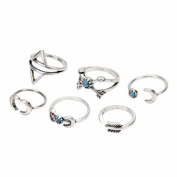 Punk Womens Girls 6Pcs Turquoise Arrow Moon Triangle Above Knuckle Ring Mid Finger Tip Stack Rings