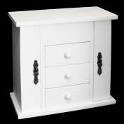 White Wooden 3 Drawer Jewellery Box with Hinged Necklace Compartments