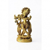Gangesindia Small Brass God Krishna Statue 10.80 cm X 5.72 cm X 2.80 cm