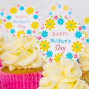 Happy Mother's Day Cupcake Toppers - Icing or Wafer 4cm Round x 24 - Spring Bouquet Happy Mother's Day Design