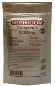 Mushroom Complex 6 - MAXIMUM STRENGHT 15000mg per Capsule - 3 Months Supply - Chaga, Cordyceps, Shiitake, Reishi, Lions mane, Maitake