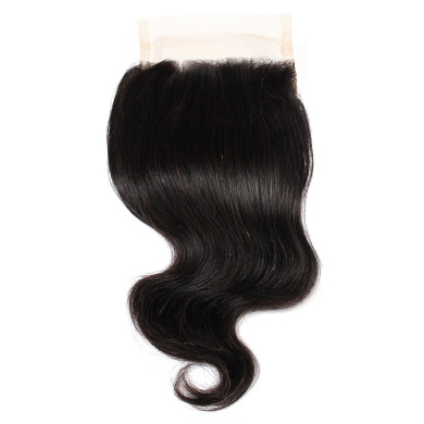 Rosette Hair Three Part Body Wave Lace Top Closure Bleached Knots, 100% Virgin Remy Human Hair with Unprocessed Natural Black Colour, Size 20cm - 50cm (1 Bundle Body Wave - 25cm )