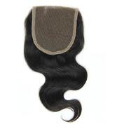 VRwig Brazilian Virgin Human Hair Lace Closure Body Wave 10cm x 10cm Free Part French Lace Bleached Knots Natural Black