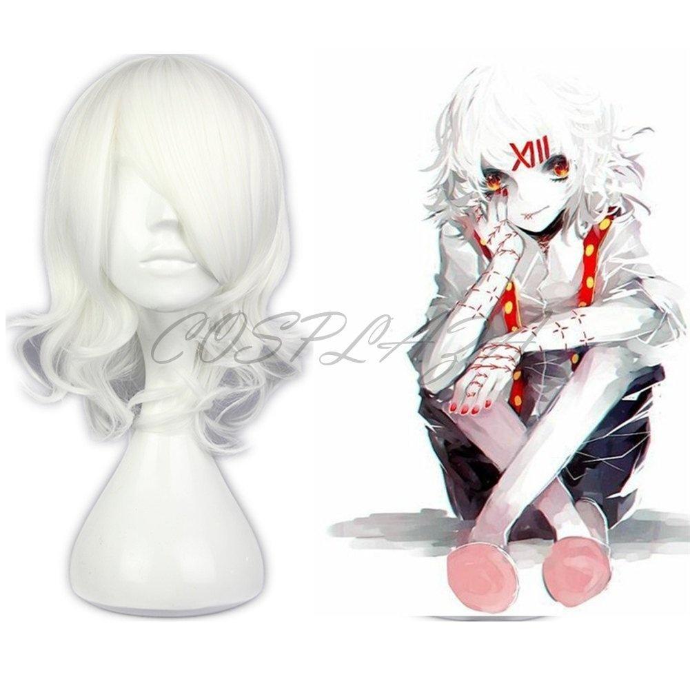 COSPLAZA Anime Cosplay Wigs Tokyo Ghoul Juuzou Suzuya Short White ... 2f95846944aa