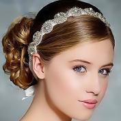 Luxury Handmade Crystals Beads with White Satin Ribbon Tie Wedding Bridal Fashion Headband Hair Accessory