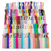 JLIKA Elastic Hair Ties (SET OF 100) Colourful Prints and Solids, No Crease Ouchless Ponytail Holders, Ribbon Hairties for Women Girls Teens and Kids