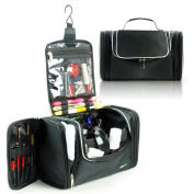 Lavievert Toiletry Bag / Makeup Organiser / Cosmetic Bag / Portable Travel Kit Organiser / Household Storage Pack / Bathroom Storage with Hanging for Business, Vacation, Household - Black
