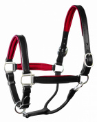 Perri's Horse Soft Padded Leather Halter, Black/Red