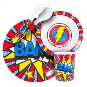 BooginHead Melamine Super Power BAM Dining Set, Blue/Red
