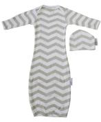 Woombie Indian Cotton Gowns Plus Hat, Grey Chevron Unisex, 7.3-10kg