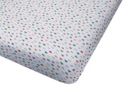 100% Cotton Jersey Knit Fitted Crib Sheet - Car Print