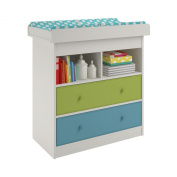 Cosco Kids Furniture Applegate Changing Table with 2 Fabric Bins, Enchanted Pine