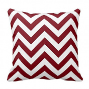 Generic Custom Pillow With Filler Burgundy And White Large Chevron Zigzag Pattern 18 X 18