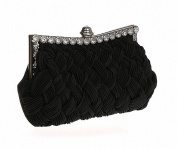 Afibi Womens Wedding Evening Bridal Bridesmaid Clutch Jewelled Pleated Cocktail Party Handbag