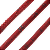 Regaliz Portuguese Cork Cord, Round and Stitched 5mm, By The Inch, Red