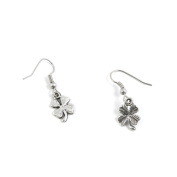 1 Pairs Jewellery Making Antique Silver Tone Earring Supplies Hooks Findings Charms R0.9l2 Clover Leaf Leaves
