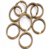 "50x Bronze Flat Key Ring 24mm 1"" Split Ring Keychain Finding Tool DIY Metal Loop Holder Edged Split Key Chain Ring Connector Keychain Keyring for Car House Keys"