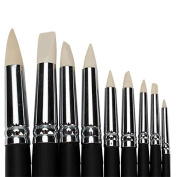 9 PCS Clay Colour Shapers Black Wood Shank White Tips Pottery Painting Tools