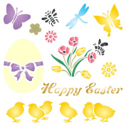 EASTER CHICKS Stencil - (size 18cm w x 18cm h) Reusable Wall Stencils for Painting - Best Quality Easter Scrapbooking Ideas - Use on Walls, Floors, Fabrics, Glass, Wood, Terracotta, and More...