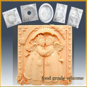 Angelic Friends - Detail of High Relief Sculpture - Silicone Soap/sugar/fondant/chocolate/marzipan 2d Mould
