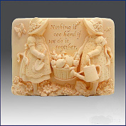 Gardening Girls - Detail of High Relief Sculpture - Silicone Soap/polymer/clay/cold Porcelain Mould