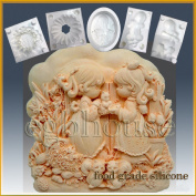 Friends in the Garden - Detail of High Relief Sculpture - Silicone Soap/sugar/fondant/chocolate/marzipan 2d Mould