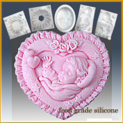 Baby in Heart - Detail of High Relief Sculpture - Silicone Soap/sugar/fondant/chocolate/marzipan 2d Mould