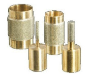 Stained Glass Grinder Head Bits Set- 4 Sizes Diamond on Brass Core