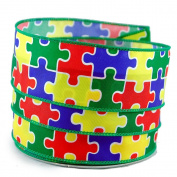Autism Awareness Puzzle Satin Wired Ribbon #23cm - 3.8cm x 10yards