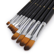 ZJKJ 9pcs Flat Pointed Tip Nylon Hair Acrylic Watercolour Brush Artists Paint Brush Set