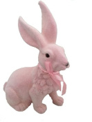 One Hundred 80 Degrees Flocked Colour Decorative Bunny 28cm Centrepiece
