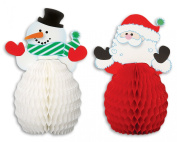 Santa and Snowman Mini Honeycomb 8pc 15cm Table Decoration White/Red/Green