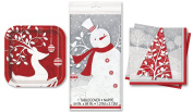 Winter Frosted Holiday Tableware 31pc Party Pack Red/White/Grey