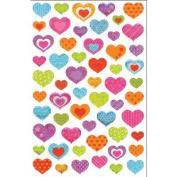 MultiCraft Glitter Stickers-Hearts