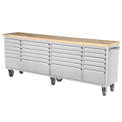 240cm 24 Drawer Wide Stainless Steel Anti-Fingerprint Tool Chest with Work Station