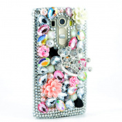 LG K7 Case, LG Tribute 5 Case, Sense-TE Luxurious Crystal 3D Handmade Sparkle Diamond Rhinestone Clear Cover with Retro Bowknot Anti Dust Plug - Silver Crown Rose Flowers