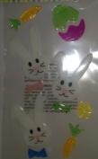 Easter Window Gel Clings Easter Bunnies in Bow Ties & Carrots