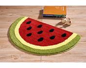 Lopkey Microfiber Non-Slip Water-absorbing Cute Fruits Watermelon Half Round Shaped Bathroom Doorway Kitchen Floor Rug Carpet Mat for Kid's Room