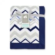 Just Born Plush Blanket, Chevron/Star/Navy