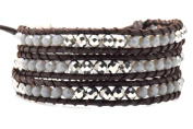 Silver and Grey Crystal Wrap Bracelet Handmade Woven Dark Brown Multilayer 4mm Faceted Beads