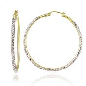 Hoops & Loops Sterling Silver Two Tone 2mm Diamond Cut Round Hoop Earrings