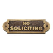 """Solid Brass """"No Soliciting"""" Sign In Antique Brass Finish"""