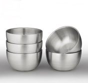 IMEEA® 5-Piece Double-deck Brushed SUS304 Stainless Steel BPA Free Serving Bowls